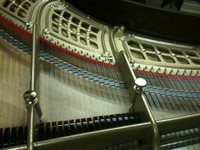 Restored H.F. Miller grand, stringing detail