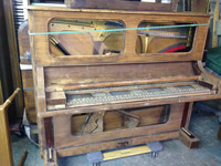 New England Piano upright prior to restoration
