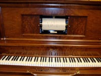 Restored Weaver upright player, closeup